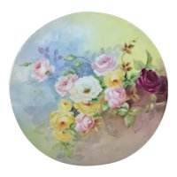 Limoges Large Round Tray Pink Yellow Roses