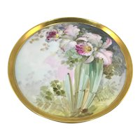 T&V Limoges Round Tray Pink Orchids Heavy Gold
