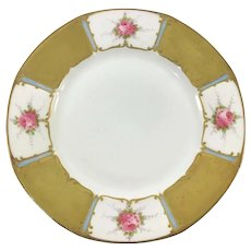 Limoges Pink Roses & Heavy Gold Hand Enameled Plate