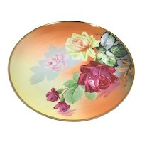 """Austria 12"""" Charger Reflecting Roses with Droplets Signed Duroys"""