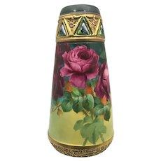 Austria Art Nouveau Art Pottery Vase Red Pink Roses and Moss Agates