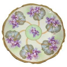 Elite Limoges Purple Geraniums Plate Studio  Artist Signed