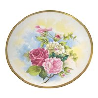 """Limoges 12 1/4"""" Charger Pink Roses"""