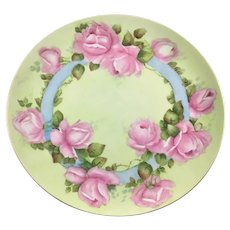"""Vintage 12"""" Charger Tray Pink Roses Blue Ribbons"""