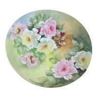 Limoges Art Nouveau Plate Pink White Yellow Roses