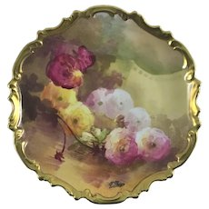 Limoges Reflecting French Peonies Wall Plaque