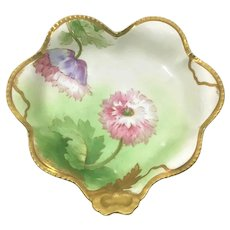 Limoges Heart Shaped Center Bowl Pink Purple Poppies