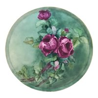 """Limoges 13 1/4"""" Round Dresser Tray Red Roses"""