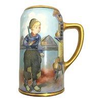 Heavy Gold Little Dutch Boy Portrait Tankard Stein Mug