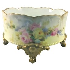 Limoges Four Footed Ferner Red Pink Yellow Roses