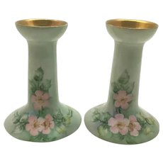 Royal Austria Pair Candle Holders Pink Wild Roses