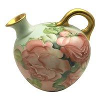 Austrian Ewer Jug Vase Big Pink Roses Heavy Gold