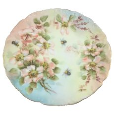 Limoges Bumble Bees on Pink Wild Roses Plate