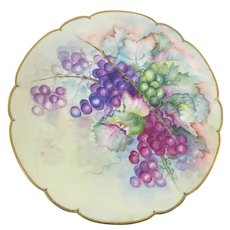 """Limoges 12 1/4"""" Turquoise Beaded Charger Green White Grapes"""