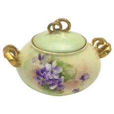 Limoges Purple Violets Sugar Bowl