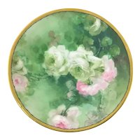 Limoges Pink and White French Roses Plate