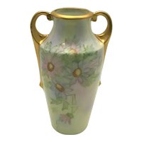 Art Deco Petite Double Handle Vase Purple Daisies