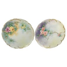 Haviland Limoges Pair Pink Peach & Yellow Roses Plates