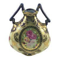 Nippon Cobalt and Gold Double Handle Pillow Vase
