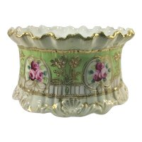 Rare Jeweled Nippon Ferner Jardiniere Red and Pink Roses