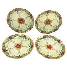 Pickard Limoges Nasturtium Conventional Set 4 Plates Signed Robert Hessler 1902