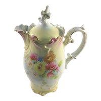 RS Prussia Art Nouveau Chocolate Pot Colorful Mums