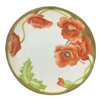 Bavaria Art Nouveau Poppies Plate Artist Signed