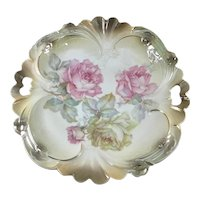 German Double Handle Charger Blown Out Mold Pink Yellow Roses