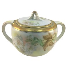 RS Germany Art Deco Biscuit Jar Etched Gold