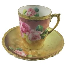 Art Nouveau Chocolate Cup and Saucer American Beauty Rose Artist Signed