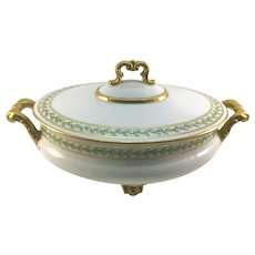 Limoges Art Nouveau Footed Covered Casserole Dish