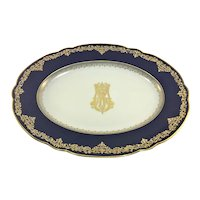 Victorian Cobalt and Heavy Gold Oval Platter