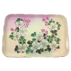 Victorian Pink and White Dogwood Dresser Tray