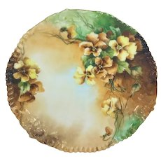 Limoges Yellow Pansies Easter 1901 Plate