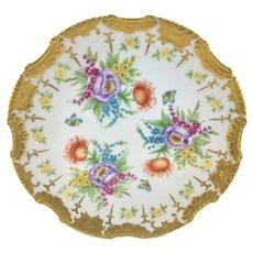 Vintage Hand Painted Floral and Heavy Gold Charger