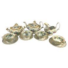 Old Vieux Paris Rococo 13-Piece Tea Set Floral and Heavy Gold