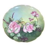 Haviland Limoges Pink Roses Plate