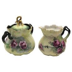 Victorian Cream Pitcher and Sugar Bowl Purple Roses