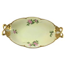 Hutschenreuther Alice Gold Bow Handle Tray Pink Clematis
