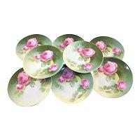RS Germany Set 8 Pink Roses Dessert Plates