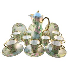 Rosenthal Pink Trailing Roses Chocolate Pot Cups and Saucers 20 Piece Set