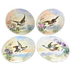 Blakeman & Henderson Limoges Set 4 Floral Bird Plates
