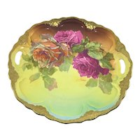 German Art Nouveau Double Handle Charger Purple Roses