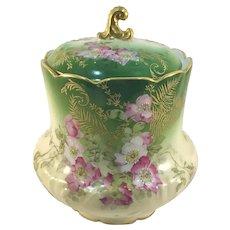 Limoges Pink and White Dogwood Gold Enameled Biscuit Jar Rare Mark