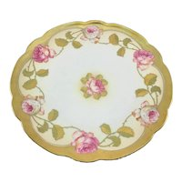 Austrian Gold Enameled Pink Roses Charger