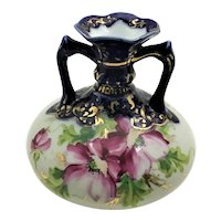 Nippon Cobalt and PInk Roses Squat Vase