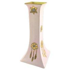 Austrian Pink and Gold Art Nouveau Candlestick Holder