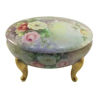 Limoges Gold Footed Jewelry Dresser Box with Roses