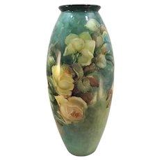 Limoges Floor Vase Yellow Roses