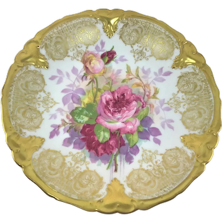Limoges Red and Pink Roses and Heavy Gold Stenciled Plate